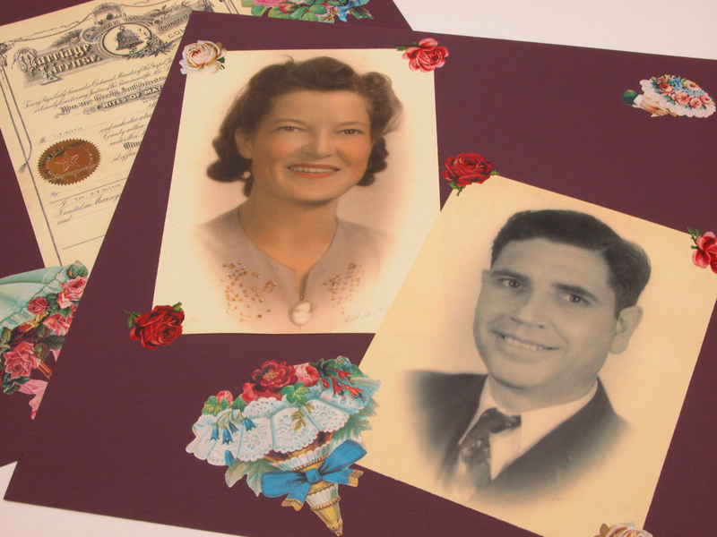 """""""Heritage scrapbook pages.  Photo of husband and wife, over 70 years old.  Background page has marriage certificate.  Request scrapbook related."""""""