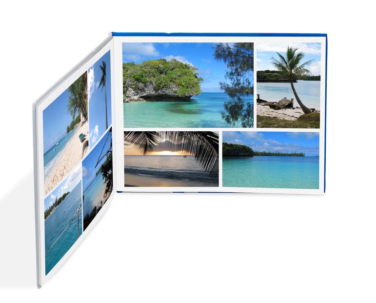 Photobook with beach photos isolated on white