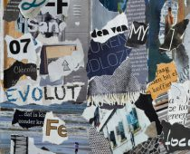 Atmosphere color petrol blue, grey, yellow, brown, black mood board collage sheet made of teared magazine paper with figures, letters, colors and textures, results in art